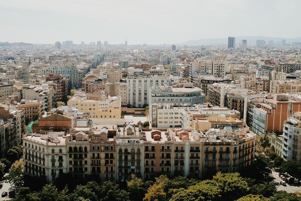 Barcelona Aerial Panorama From La Sagrada Familia Tower, Catalonia, Spain