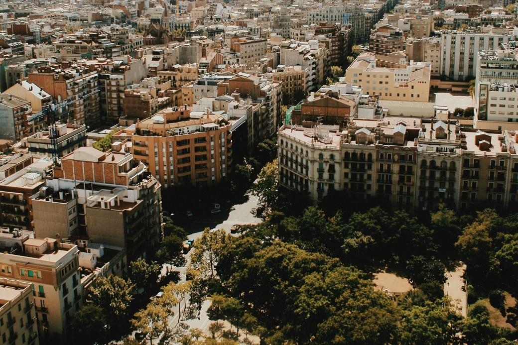 Barcelona Aerial Panorama From La Sagrada Familia Tower, Spain