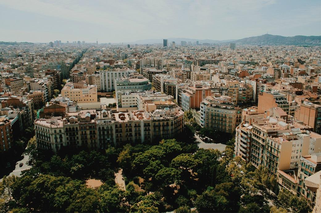 Placa de Gaudi (Gaudi Square) Aerial Panorama From La Sagrada Familia Tower, Barcelona, Catalonia, Spain