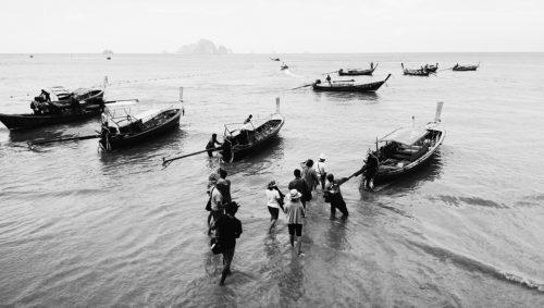 Thailand Ao Nang Beach Long-Tail Boats